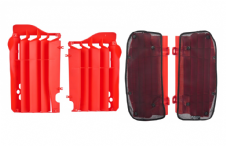 New Honda CRF 250 R 14-15 Radiator Rad Louvres Plastics & Mesh Covers Red